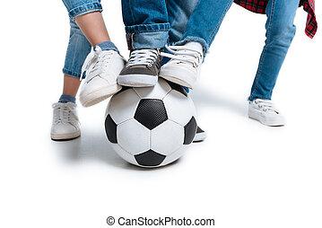 Kids playing with football ball