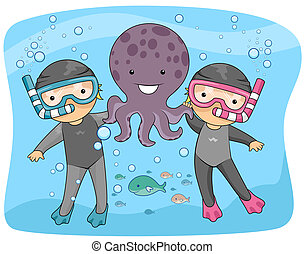 Kids Playing with Octopus