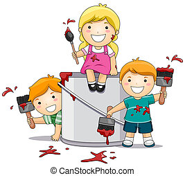 Kids Playing with Paint - Illustration Featuring Kids...