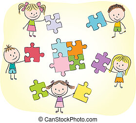 Kids playing with puzzle