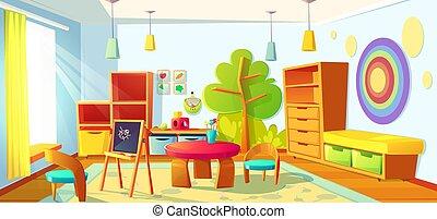 Kids playroom interior, empty indoors nursery room