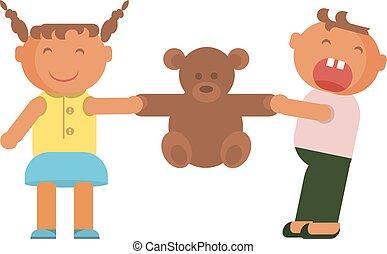 Kids plays with teddy bear