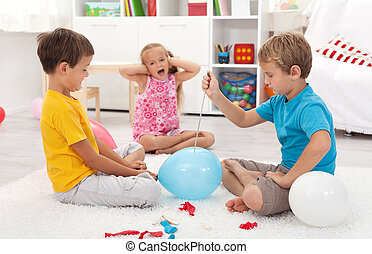 Kids popping balloons in their room fearing the blast -...