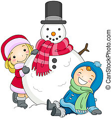 Kids Posing Beside a Snowman - Illustration of a Boy and a...
