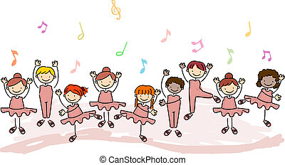 Kids Practicing Ballet - Illustration of Children Practicing...