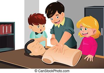 Kids practicing CPR - A vector illustration of kids ...