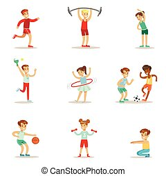 Kids Practicing Different Sports And Physical Activities In ...
