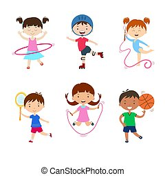 Kids practicing different sports. Children physical activities outdoors.