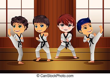 Kids Practicing Martial Arts in the Dojo - A vector...