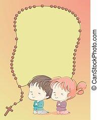 Kids Praying Rosary Background Illustration