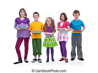 Group of happy kids preparing for school - holding their books