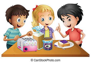 Kids preparing their snacks - Illustration of the kids...