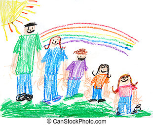 Childs Primitive Crayon Drawing of a Family of 5 People With a Sun and Rainbow
