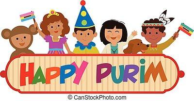 kids Purim Sign