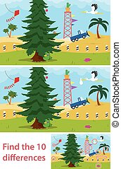 Kids puzzle of a desert tree with two versions of the vector illustration for children to spot the 10 differences