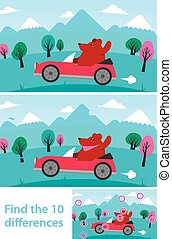 Kids puzzle - spot the 10 differences or variations between...