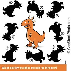 Kids puzzle with a brown cartoon dinosaur and eight...