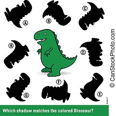 Kids puzzle with a green cartoon dinosaur