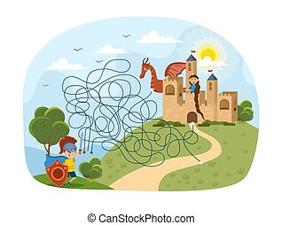 Kids puzzle with complicated maze leading to a castle on a hill with multiple paths and routes and Rapunzel waiting at the ramparts, colored cartoon vector illustration