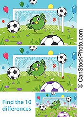 Kids puzzle with cute bird goalkeeper - Two versions of...