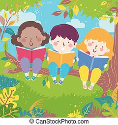 Kids Read Books Branch Tree Illustration