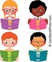 Kids read books - Stock Vector cartoon illustration of kids ...