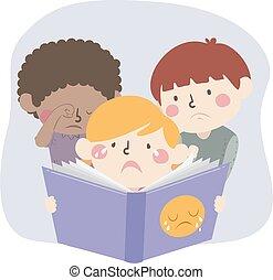Kids Read Sad Book Illustration