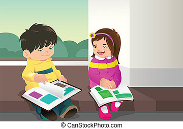 Kids reading a book