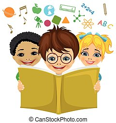 Kids reading a book with education related icons flying out. Imagination concept