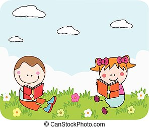 Kids reading book at park