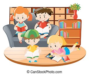 Kids reading book in the room