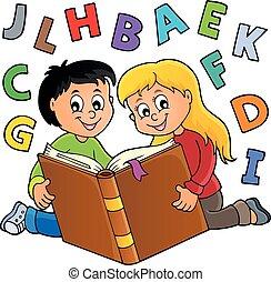 Kids reading book theme 2