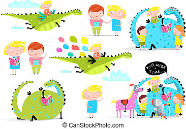 Kids Reading Books Dragon Clip Art Collection