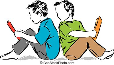 kids reading books illustration