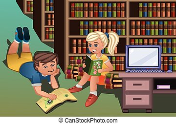 Kids reading books in the library