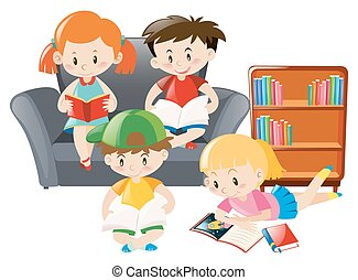 Kids reading books in the room
