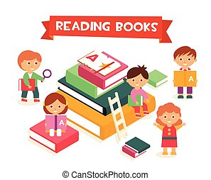 Kids Reading Books, Vector Illustration