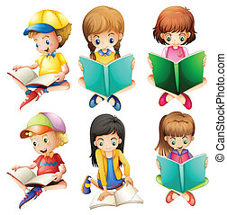 Kids reading - Illustration of the kids reading on a white...