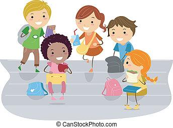 Kids Recess - Illustration of Kids Enjoying their Recess