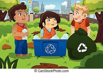 Kids Recycles Bottles