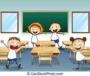 Kids rehearsing inside the classroom - Illustration of kids...