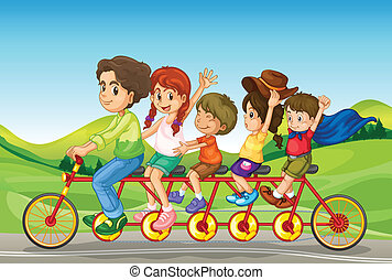 Kids riding a bicycle