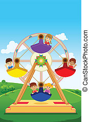 Kids riding a ferris wheel