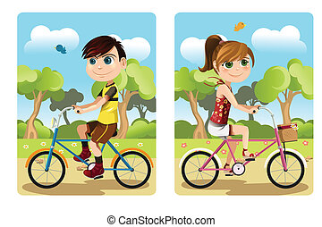 Kids riding bicycle - A vector illustration of a boy and a ...