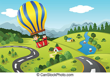 A vector illustration of cute kids riding a hot air balloon