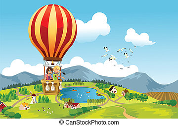 Kids riding hot air balloon - A vector illustration of two ...
