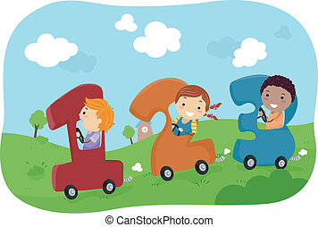 Kids riding in 123 Cars - Illustration of Stickman Kids...