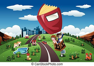 Kids riding in a hot air balloon - A vector illustration of ...