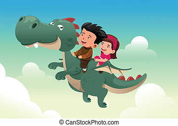 Kids riding on a cute dragon