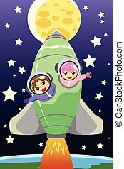 Kids riding on a rocket